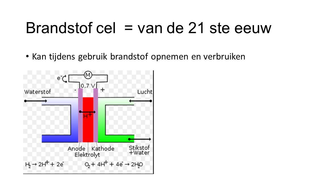 Brandstof cel = van de 21 ste eeuw Kan tijdens gebruik brandstof opnemen en verbruiken