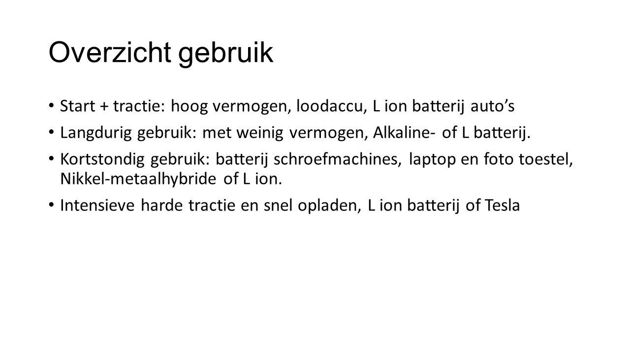 Overzicht gebruik Start + tractie: hoog vermogen, loodaccu, L ion batterij auto's Langdurig gebruik: met weinig vermogen, Alkaline- of L batterij. Kor