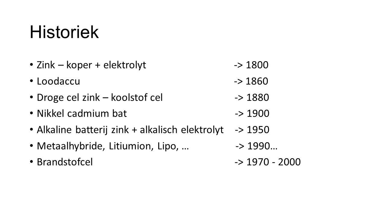 Historiek Zink – koper + elektrolyt -> 1800 Loodaccu -> 1860 Droge cel zink – koolstof cel -> 1880 Nikkel cadmium bat -> 1900 Alkaline batterij zink +