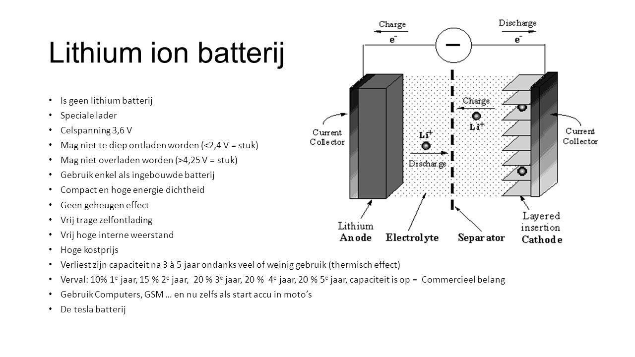 Lithium Polymeer batterij Is ongeveer een lithium ion batterij Speciale lader Mag niet te diep ontladen worden Celspanning 4,1 V ( 4,3 V = stuk) Gebruik enkel als ingebouwde batterij Compact en hoge energie dichtheid Geen geheugen effect Wel veel zelf ontlading Lage interne weerstand Hoge kostprijs Verliest zijn capaciteit na 3 a 5 jaar ondanks veel of weinig gebruik Gebruik model bouw vliegen ….