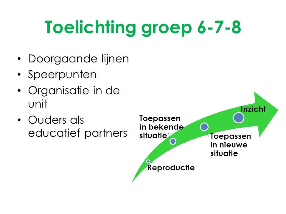 Toelichting groep 6-7-8 Doorgaande lijnen Speerpunten Organisatie in de unit Ouders als educatief partners Reproductie Toepassen in bekende situatie T