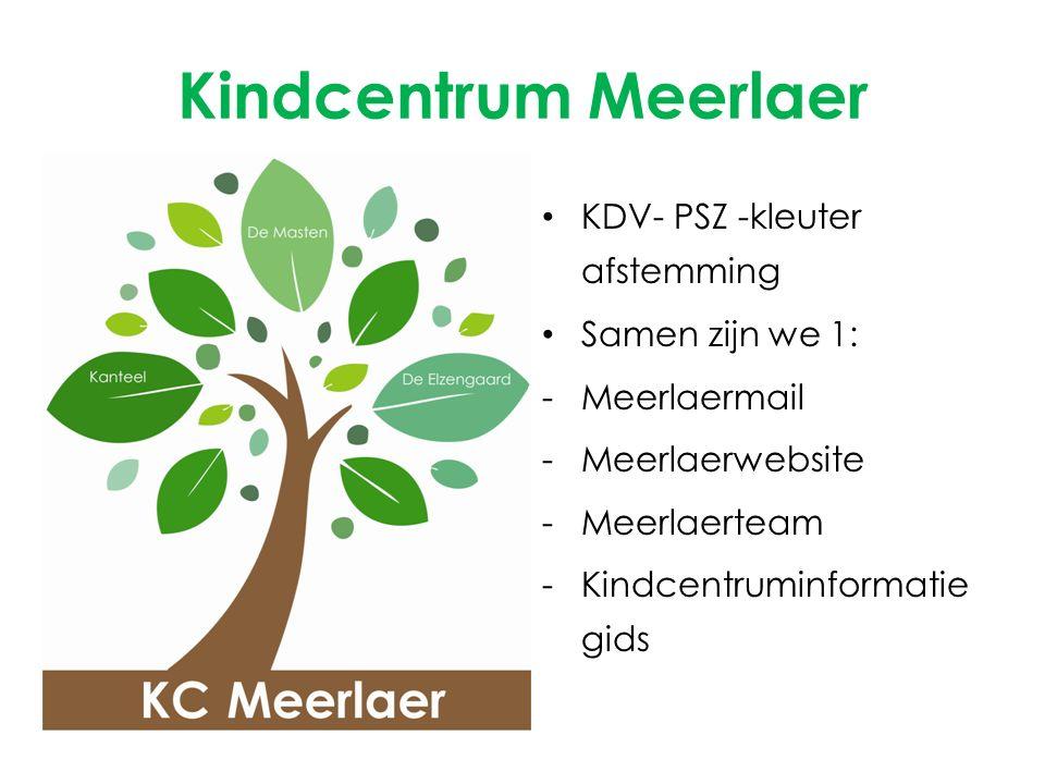 Kindcentrum Meerlaer KDV- PSZ -kleuter afstemming Samen zijn we 1: -Meerlaermail -Meerlaerwebsite -Meerlaerteam -Kindcentruminformatie gids