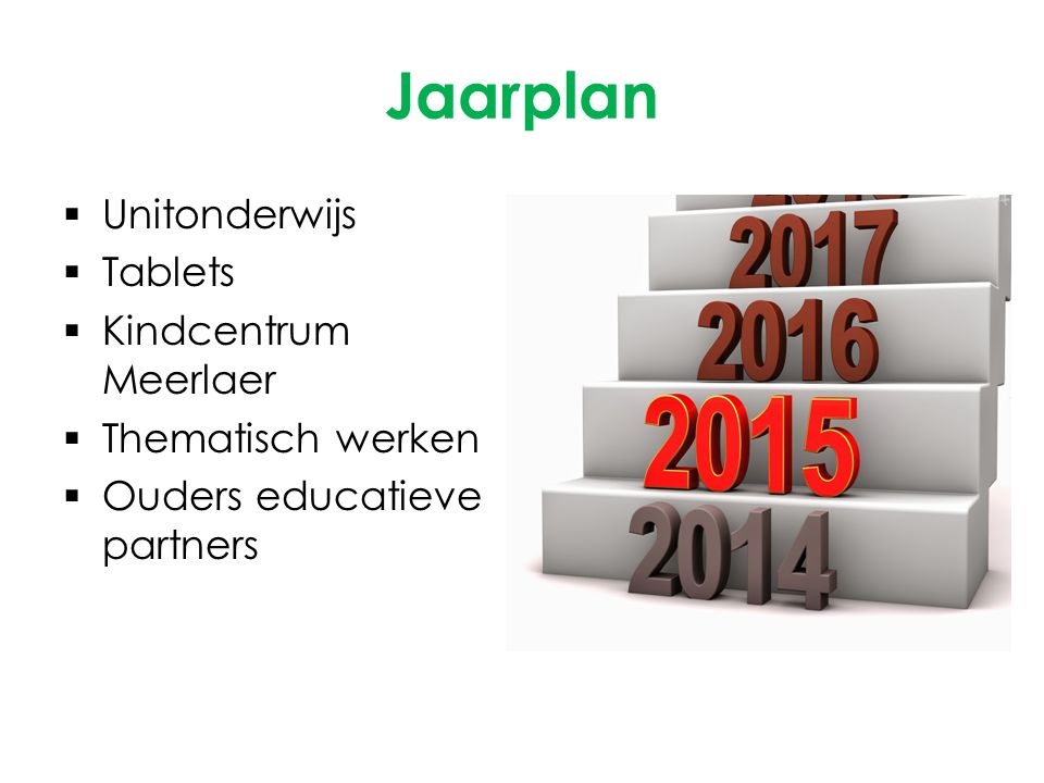 Jaarplan  Unitonderwijs  Tablets  Kindcentrum Meerlaer  Thematisch werken  Ouders educatieve partners