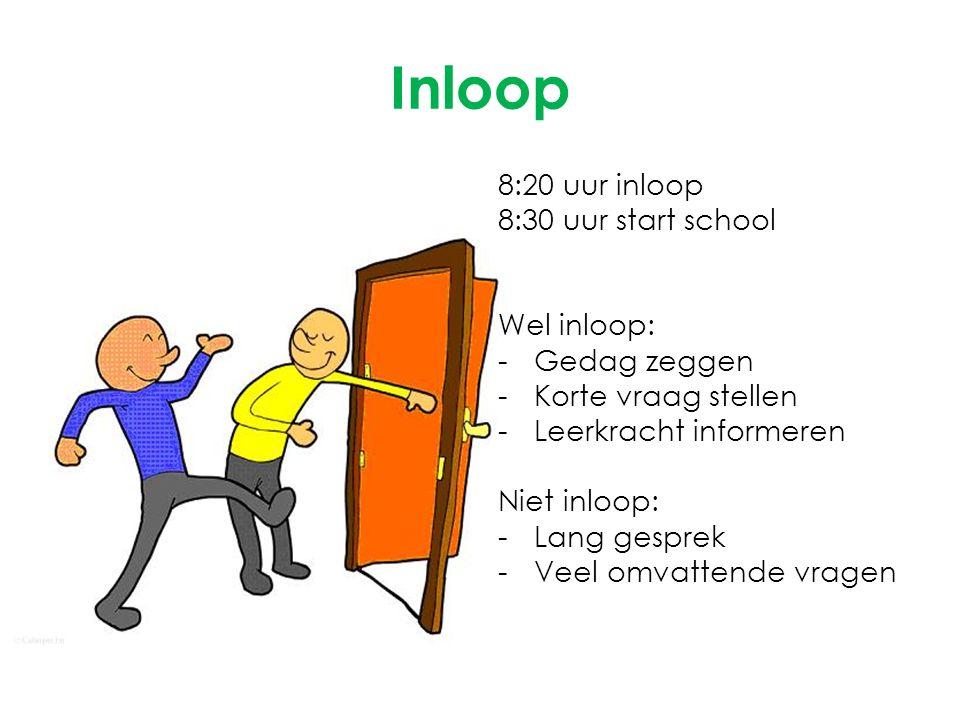 Inloop 8:20 uur inloop 8:30 uur start school Wel inloop: -Gedag zeggen -Korte vraag stellen -Leerkracht informeren Niet inloop: -Lang gesprek -Veel om