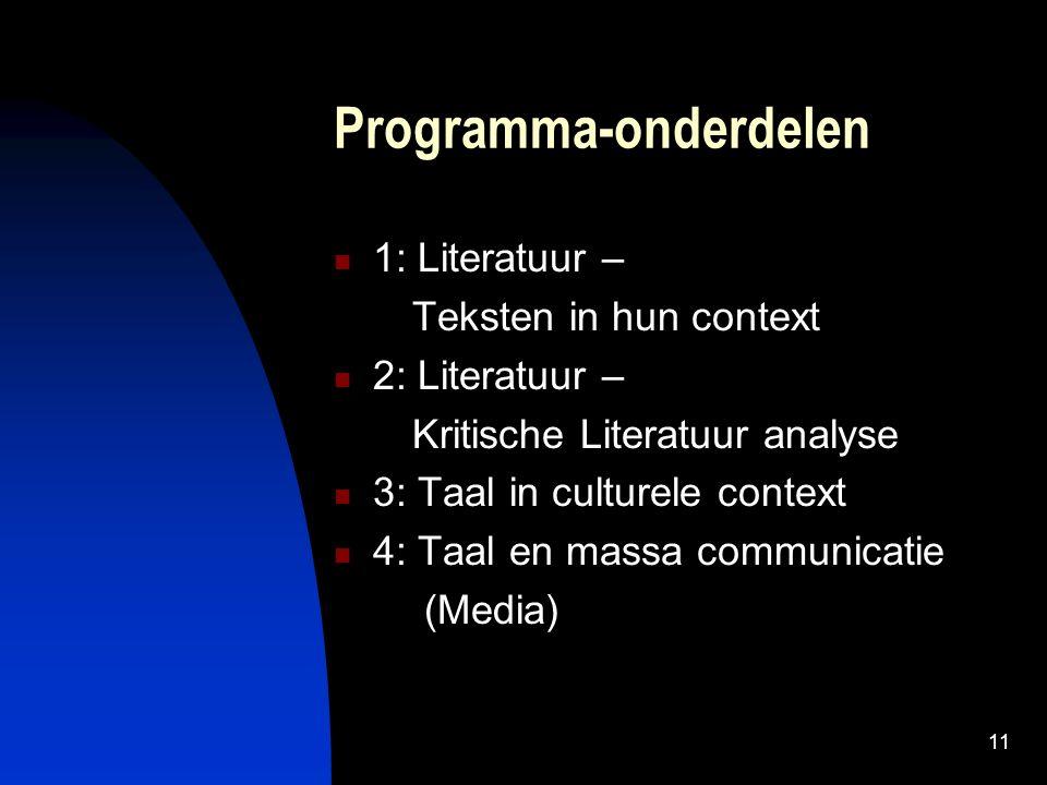 11 Programma-onderdelen 1: Literatuur – Teksten in hun context 2: Literatuur – Kritische Literatuur analyse 3: Taal in culturele context 4: Taal en massa communicatie (Media)