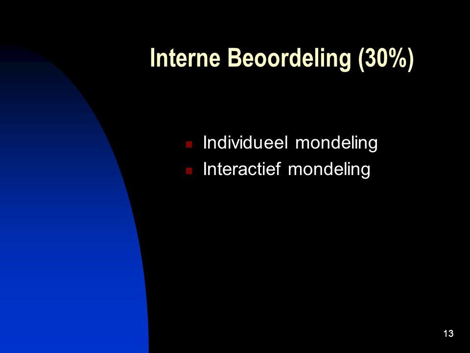 13 Interne Beoordeling (30%) Individueel mondeling Interactief mondeling