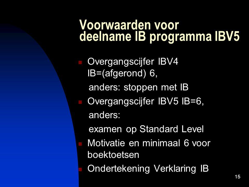 15 Voorwaarden voor deelname IB programma IBV5 Overgangscijfer IBV4 IB=(afgerond) 6, anders: stoppen met IB Overgangscijfer IBV5 IB=6, anders: examen op Standard Level Motivatie en minimaal 6 voor boektoetsen Ondertekening Verklaring IB