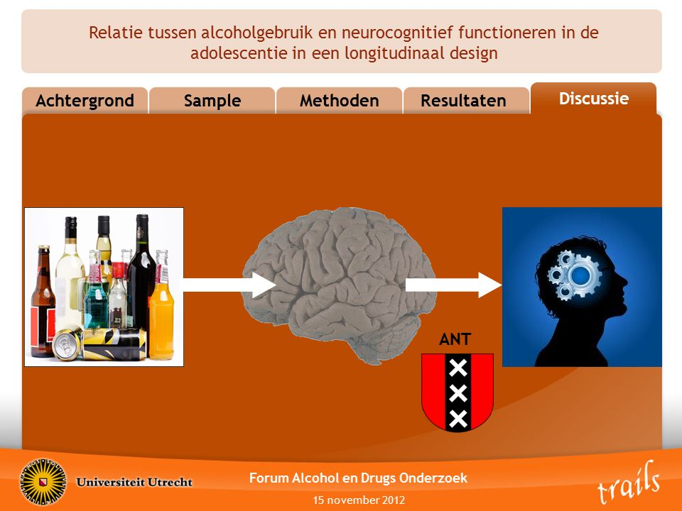 Relatie tussen alcoholgebruik en neurocognitief functioneren in de adolescentie in een longitudinaal design AchtergrondSampleMethodenResultatenConclusion Discussie Forum Alcohol en Drugs Onderzoek 15 november 2012 ANT