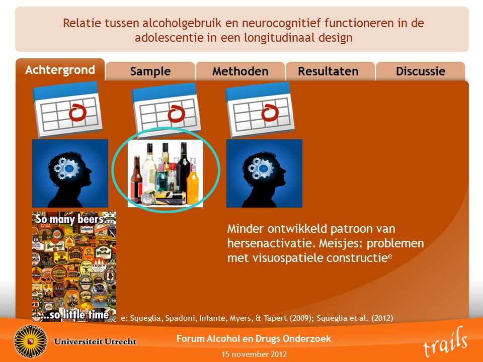 Relatie tussen alcoholgebruik en neurocognitief functioneren in de adolescentie in een longitudinaal design OutlineSampleMethodenResultatenDiscussie A