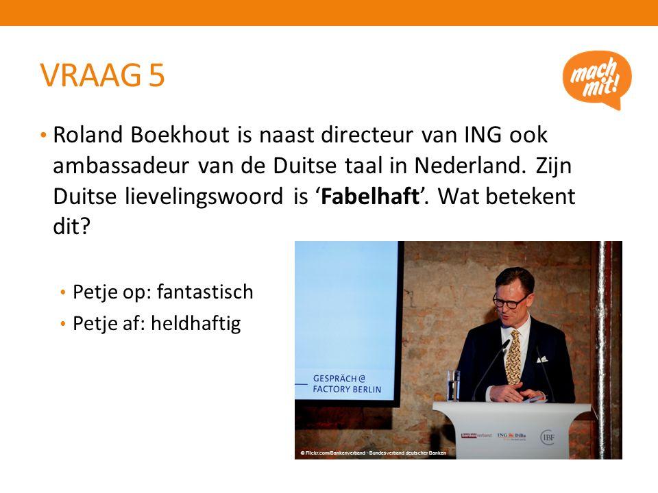 VRAAG 5 Roland Boekhout is naast directeur van ING ook ambassadeur van de Duitse taal in Nederland.