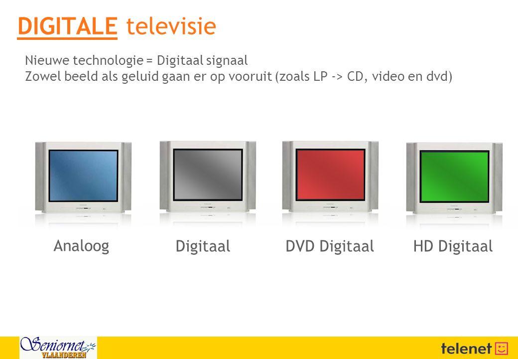 Analoog Digitaal DVD DigitaalHD Digitaal DIGITALE televisie Nieuwe technologie = Digitaal signaal Zowel beeld als geluid gaan er op vooruit (zoals LP