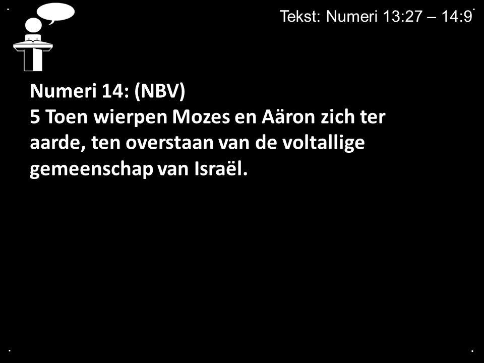 .... Tekst: Numeri 13:27 – 14:9 Numeri 14: (NBV) 5 Toen wierpen Mozes en Aäron zich ter aarde, ten overstaan van de voltallige gemeenschap van Israël.