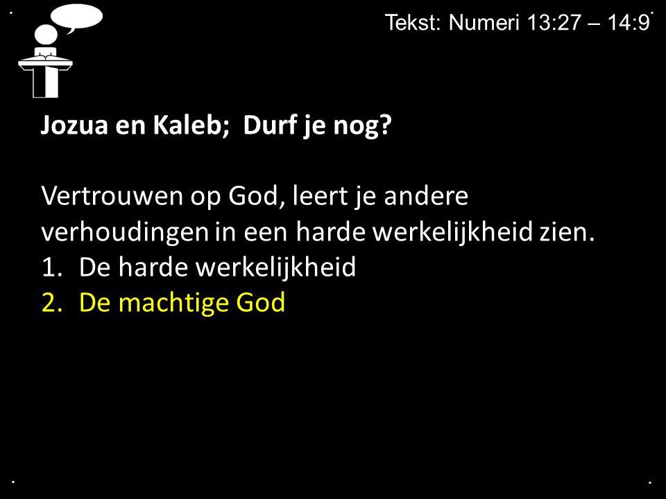 ....Tekst: Numeri 13:27 – 14:9 Jozua en Kaleb; Durf je nog.