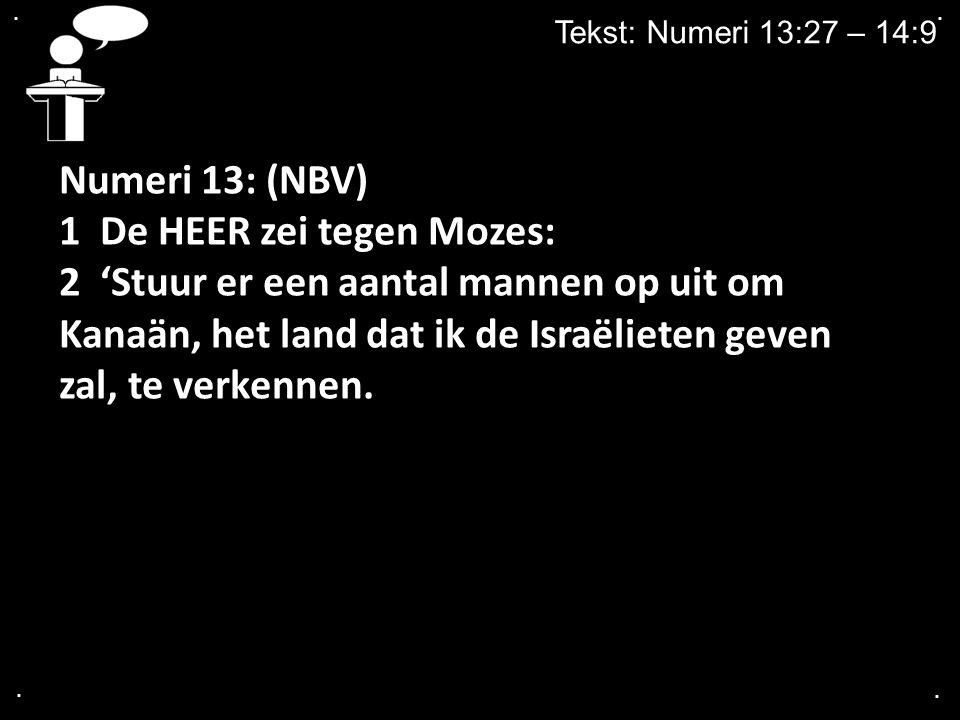 .... Tekst: Numeri 13:27 – 14:9 Numeri 13: (NBV) 1 De HEER zei tegen Mozes: 2 'Stuur er een aantal mannen op uit om Kanaän, het land dat ik de Israëli