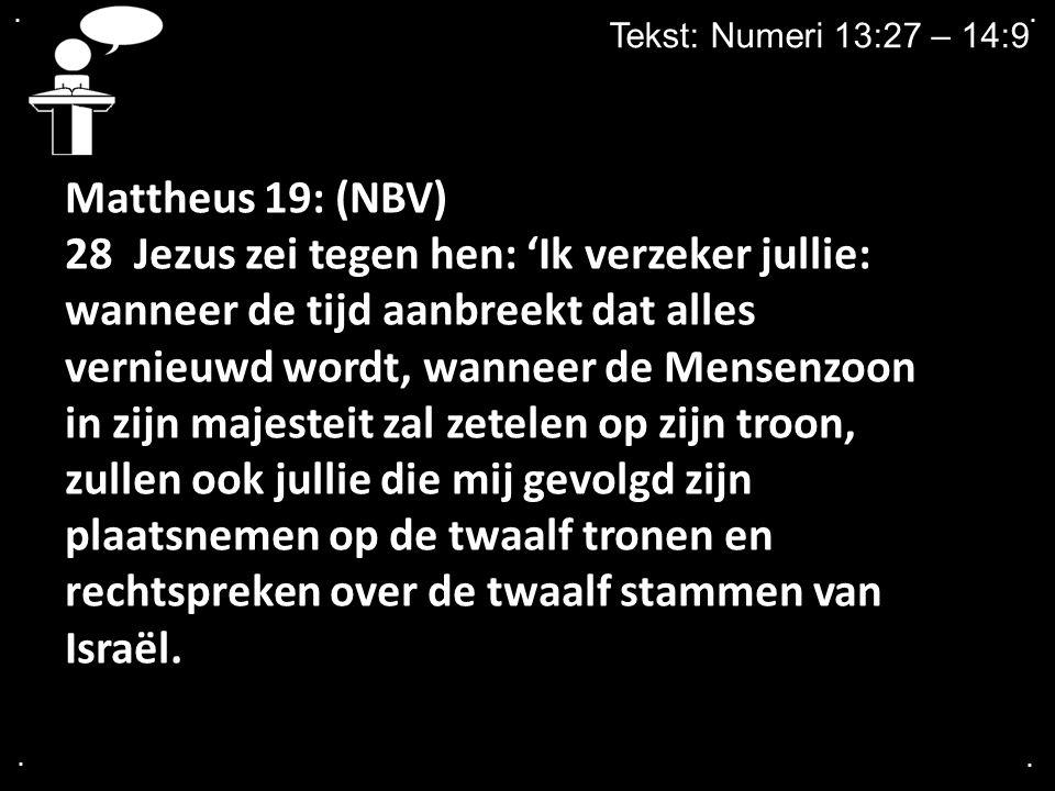 .... Tekst: Numeri 13:27 – 14:9 Mattheus 19: (NBV) 28 Jezus zei tegen hen: 'Ik verzeker jullie: wanneer de tijd aanbreekt dat alles vernieuwd wordt, w