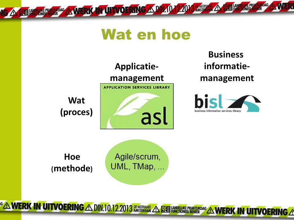 Applicatie- management Business informatie- management Wat (proces) Hoe ( methode ) Agile/scrum, UML, TMap, … Wat en hoe
