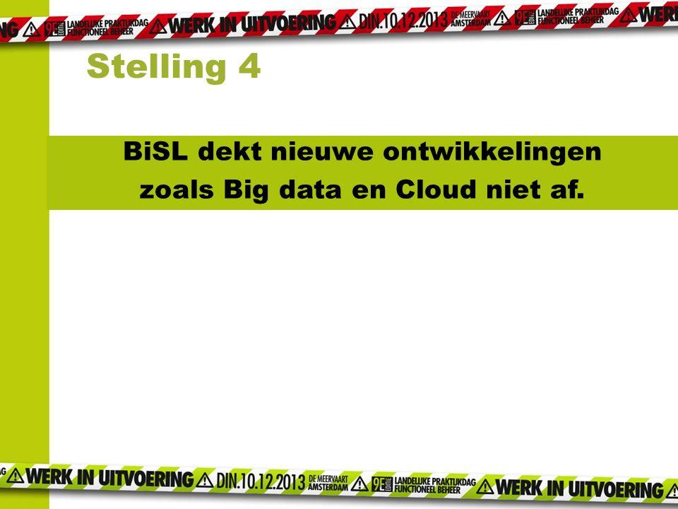BiSL dekt nieuwe ontwikkelingen zoals Big data en Cloud niet af. Stelling 4