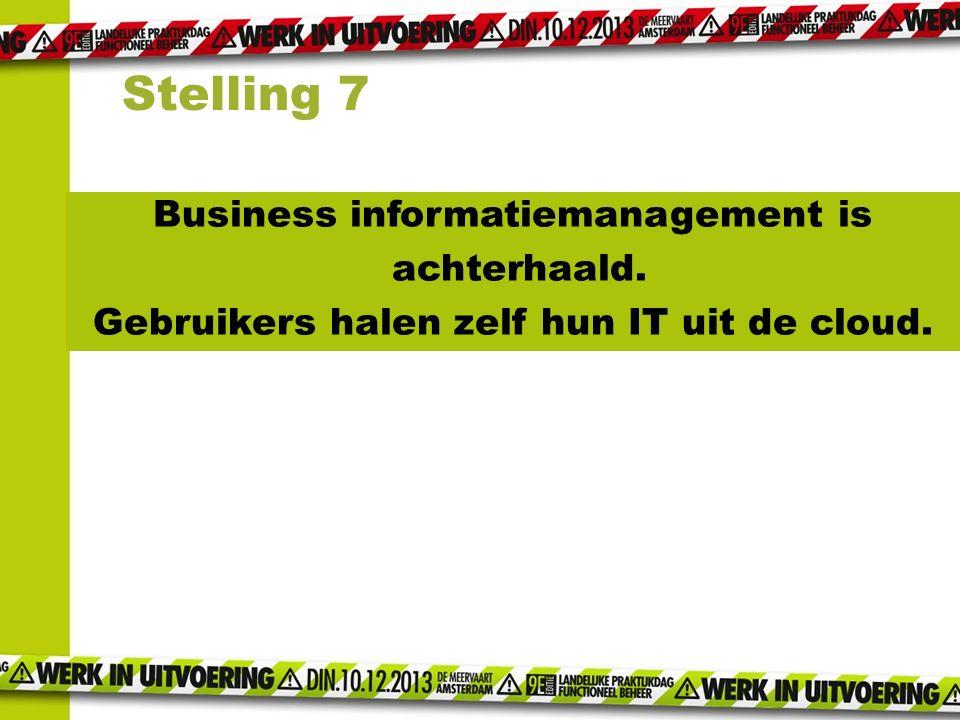Business informatiemanagement is achterhaald. Gebruikers halen zelf hun IT uit de cloud. Stelling 7