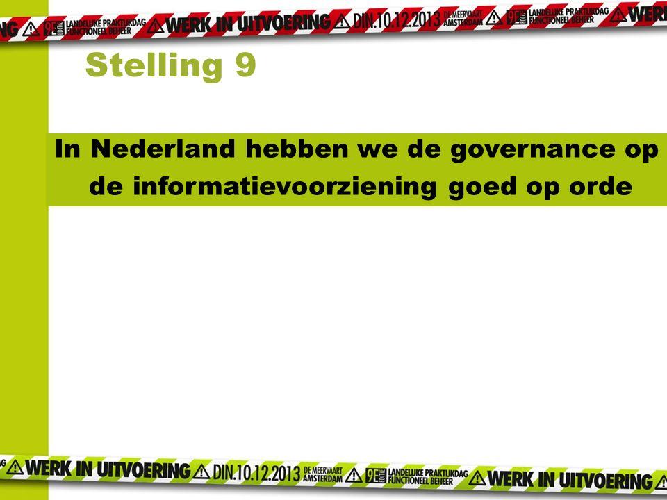 In Nederland hebben we de governance op de informatievoorziening goed op orde Stelling 9