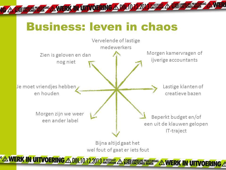 Business: leven in chaos Morgen kamervragen of ijverige accountants Vervelende of lastige medewerkers Lastige klanten of creatieve bazen Beperkt budge