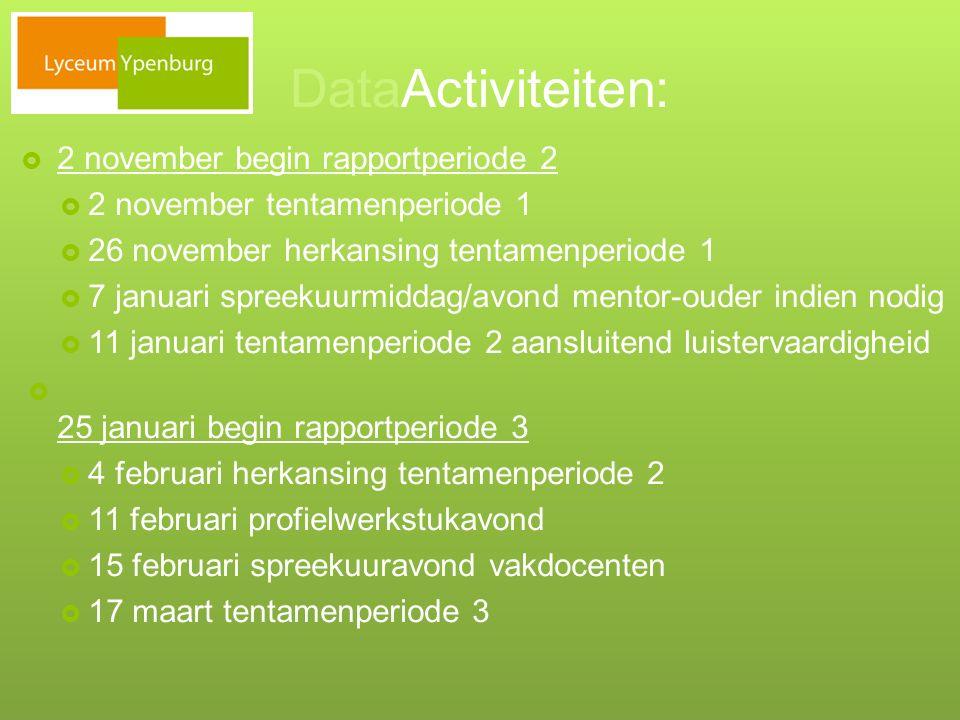 DataActiviteiten:  2 november begin rapportperiode 2  2 november tentamenperiode 1  26 november herkansing tentamenperiode 1  7 januari spreekuurm