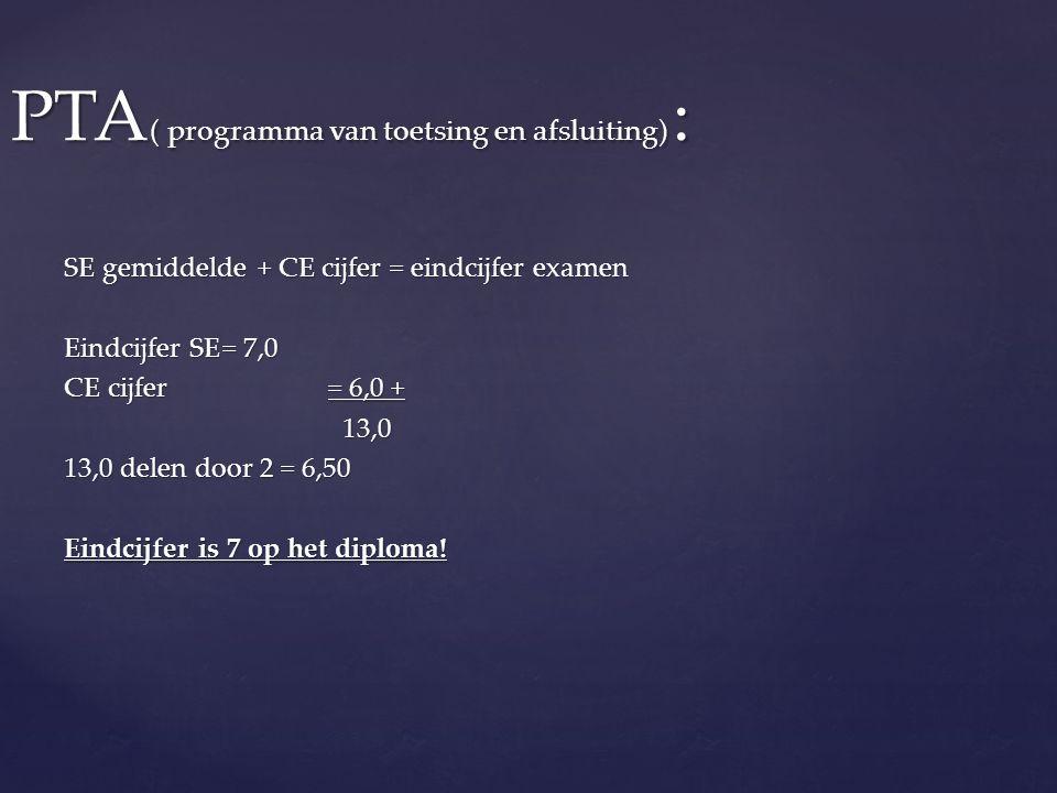 PTA ( programma van toetsing en afsluiting) : SE gemiddelde + CE cijfer = eindcijfer examen Eindcijfer SE= 7,0 CE cijfer= 6,0 + 13,0 13,0 13,0 delen door 2 = 6,50 Eindcijfer is 7 op het diploma!