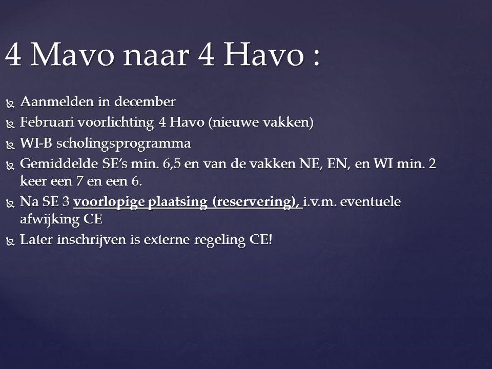 4 Mavo naar 4 Havo :  Aanmelden in december  Februari voorlichting 4 Havo (nieuwe vakken)  WI-B scholingsprogramma  Gemiddelde SE's min. 6,5 en va