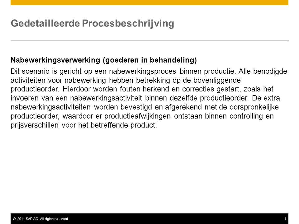 ©2011 SAP AG. All rights reserved.4 Gedetailleerde Procesbeschrijving Nabewerkingsverwerking (goederen in behandeling) Dit scenario is gericht op een