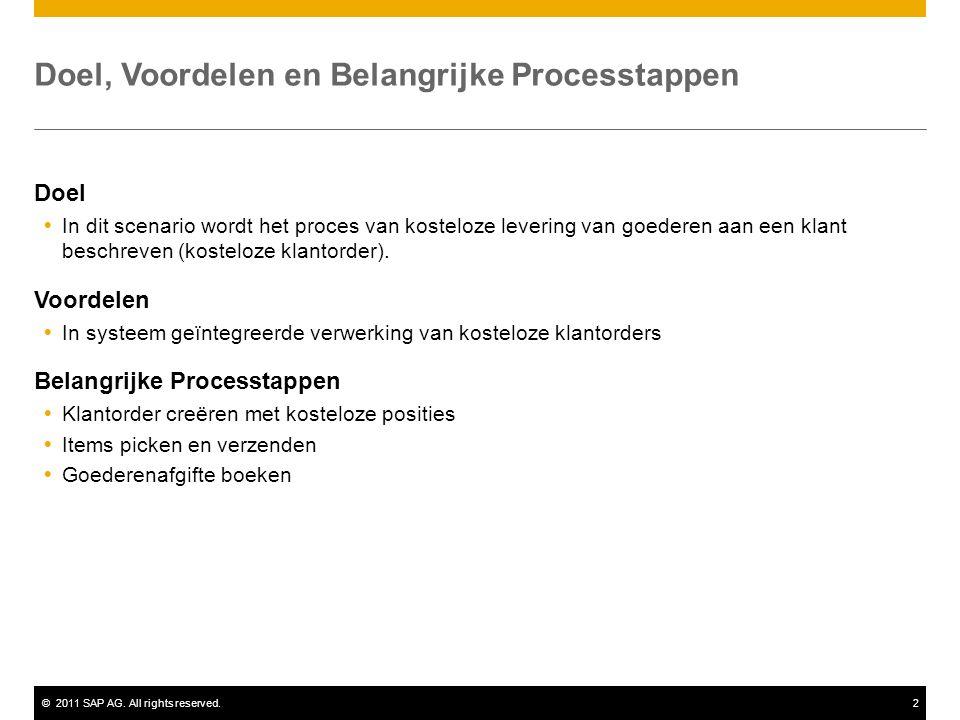 ©2011 SAP AG. All rights reserved.2 Doel, Voordelen en Belangrijke Processtappen Doel  In dit scenario wordt het proces van kosteloze levering van go
