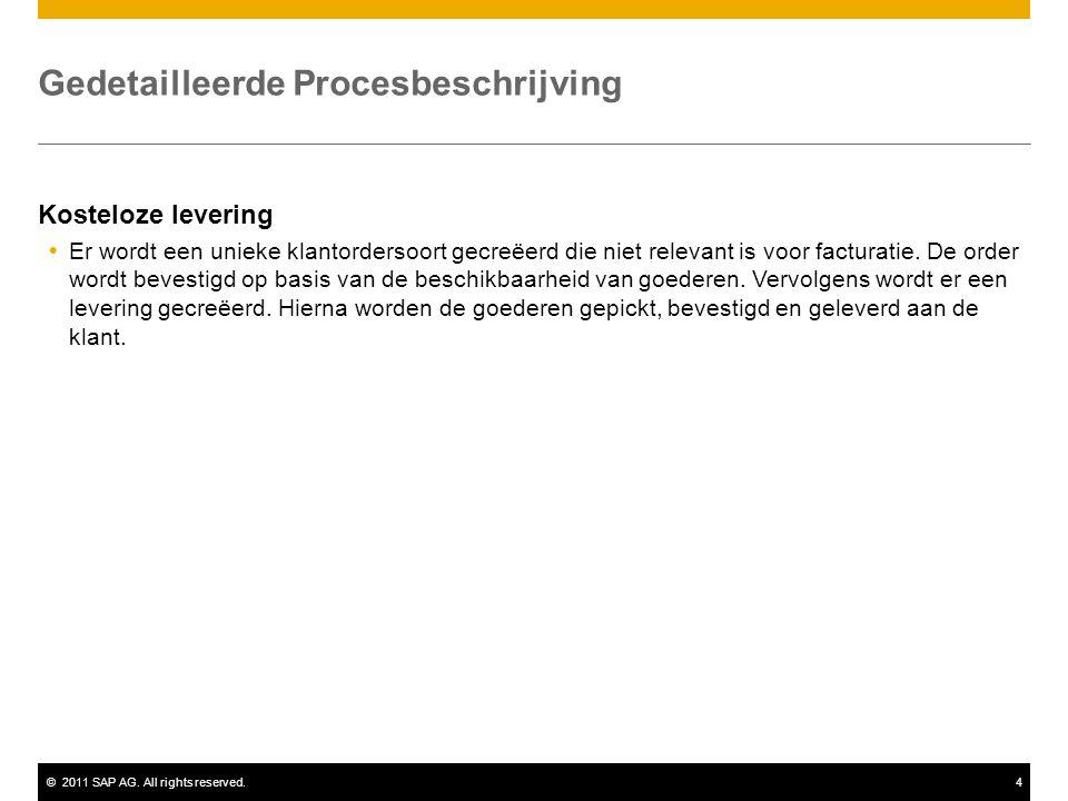 ©2011 SAP AG. All rights reserved.4 Gedetailleerde Procesbeschrijving Kosteloze levering  Er wordt een unieke klantordersoort gecreëerd die niet rele