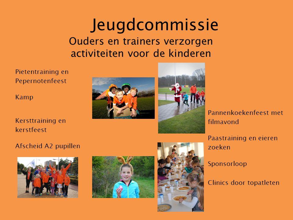 Jeugdcommissie Ouders en trainers verzorgen activiteiten voor de kinderen Pietentraining en Pepernotenfeest Kamp Kersttraining en kerstfeest Afscheid