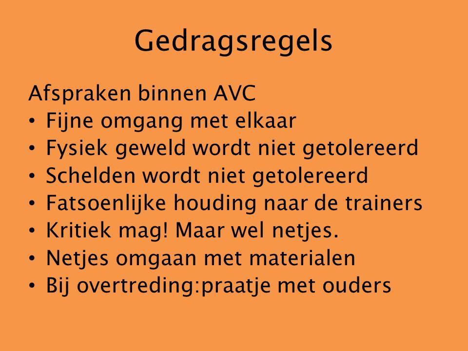 Gedragsregels Afspraken binnen AVC Fijne omgang met elkaar Fysiek geweld wordt niet getolereerd Schelden wordt niet getolereerd Fatsoenlijke houding n