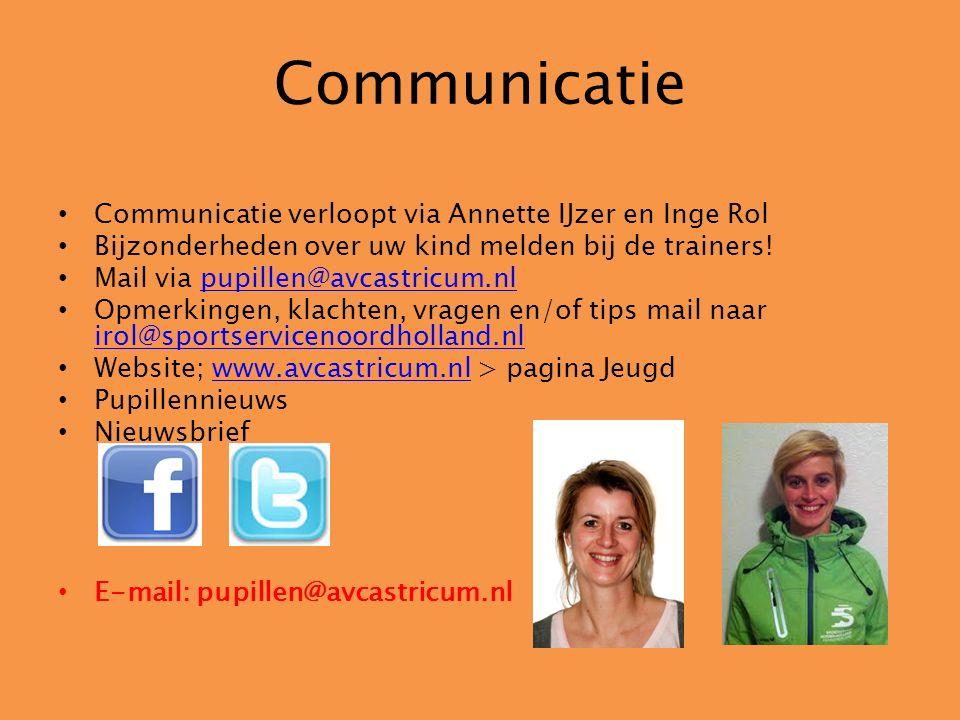 Communicatie Communicatie verloopt via Annette IJzer en Inge Rol Bijzonderheden over uw kind melden bij de trainers! Mail via pupillen@avcastricum.nlp