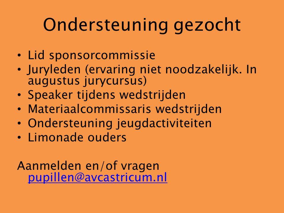 Ondersteuning gezocht Lid sponsorcommissie Juryleden (ervaring niet noodzakelijk. In augustus jurycursus) Speaker tijdens wedstrijden Materiaalcommiss