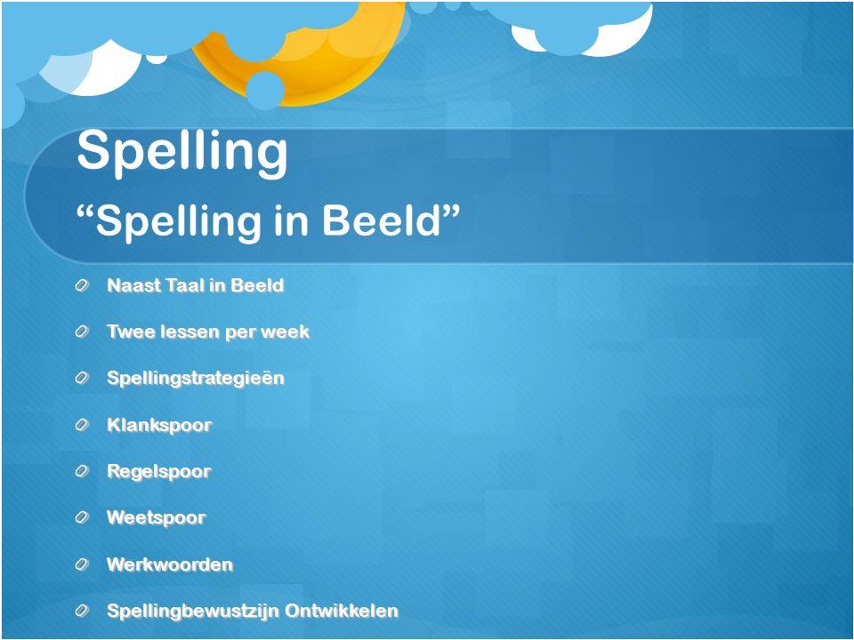 Spelling Spelling in Beeld Naast Taal in Beeld Twee lessen per week SpellingstrategieënKlankspoorRegelspoorWeetspoorWerkwoorden Spellingbewustzijn Ontwikkelen