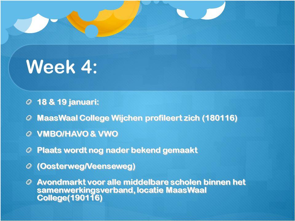 Week 4: 18 & 19 januari: MaasWaal College Wijchen profileert zich (180116) VMBO/HAVO & VWO Plaats wordt nog nader bekend gemaakt (Oosterweg/Veenseweg) Avondmarkt voor alle middelbare scholen binnen het samenwerkingsverband, locatie MaasWaal College(190116)