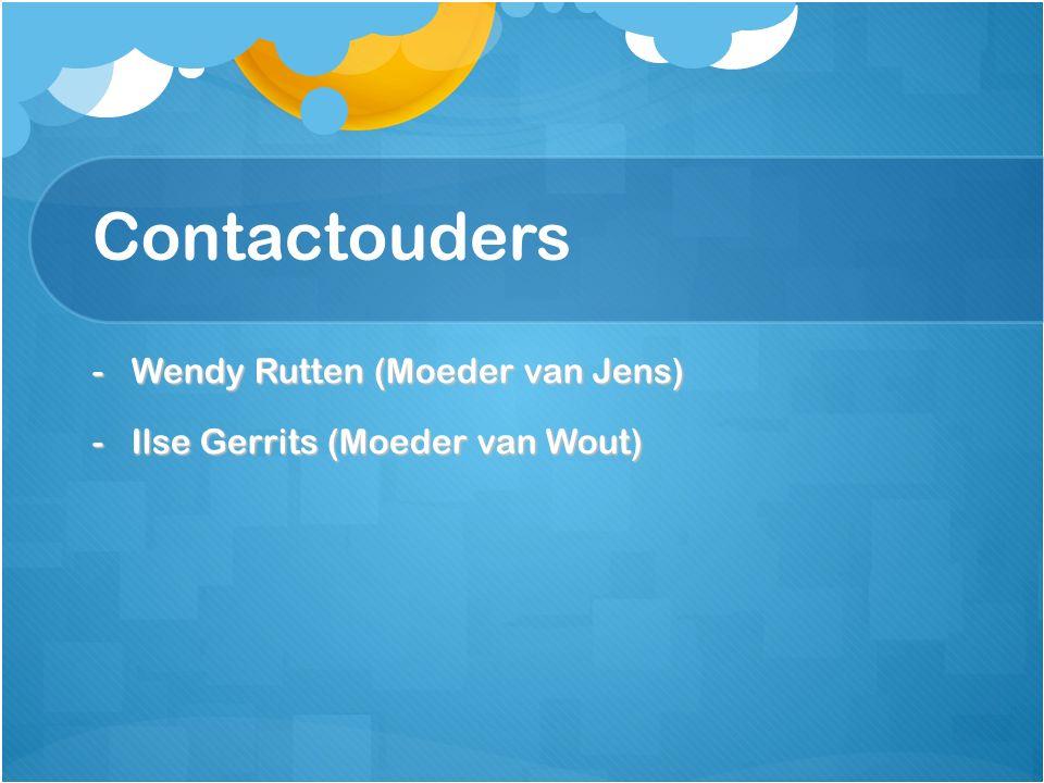 Contactouders -Wendy Rutten (Moeder van Jens) -Ilse Gerrits (Moeder van Wout)