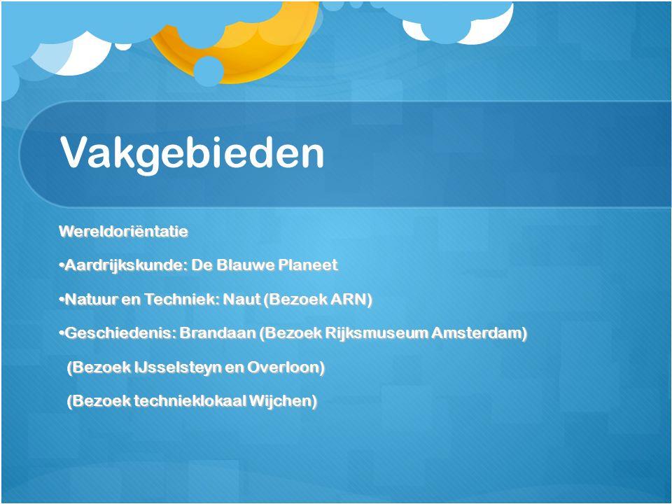 Vakgebieden Wereldoriëntatie Aardrijkskunde: De Blauwe PlaneetAardrijkskunde: De Blauwe Planeet Natuur en Techniek: Naut (Bezoek ARN)Natuur en Techniek: Naut (Bezoek ARN) Geschiedenis: Brandaan (Bezoek Rijksmuseum Amsterdam)Geschiedenis: Brandaan (Bezoek Rijksmuseum Amsterdam) (Bezoek IJsselsteyn en Overloon) (Bezoek IJsselsteyn en Overloon) (Bezoek technieklokaal Wijchen) (Bezoek technieklokaal Wijchen)