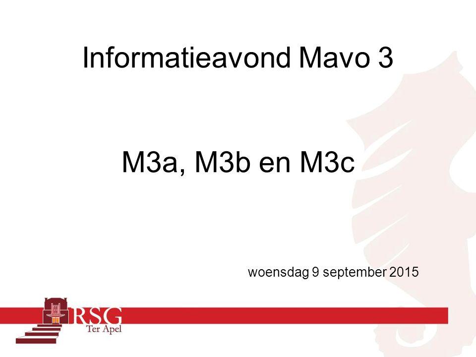 Informatieavond Mavo 3 M3a, M3b en M3c woensdag 9 september 2015