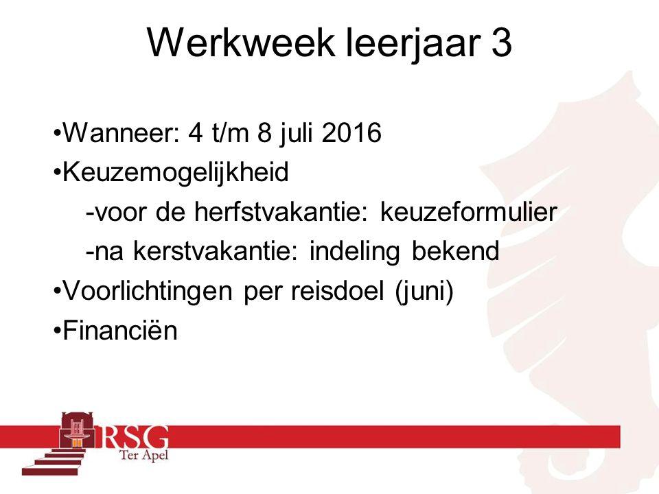 Werkweek leerjaar 3 Wanneer: 4 t/m 8 juli 2016 Keuzemogelijkheid -voor de herfstvakantie: keuzeformulier -na kerstvakantie: indeling bekend Voorlichtingen per reisdoel (juni) Financiën