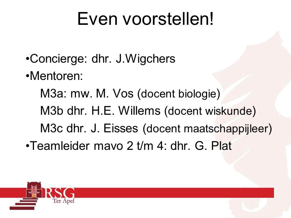 Even voorstellen! Concierge: dhr. J.Wigchers Mentoren: M3a: mw. M. Vos ( docent biologie ) M3b dhr. H.E. Willems ( docent wiskunde ) M3c dhr. J. Eisse