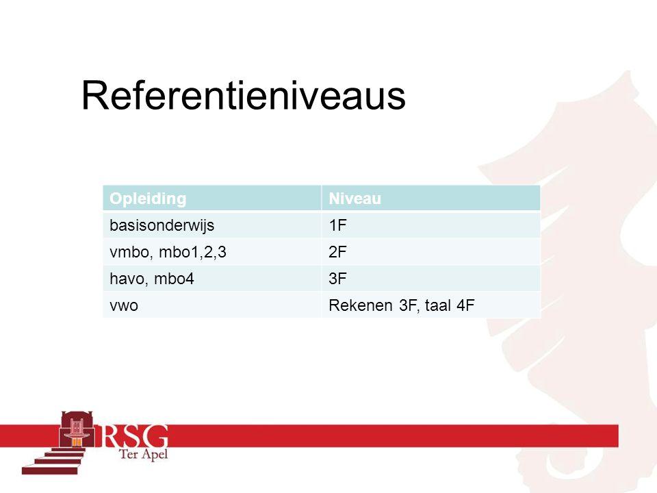 Referentieniveaus OpleidingNiveau basisonderwijs1F vmbo, mbo1,2,32F havo, mbo43F vwoRekenen 3F, taal 4F