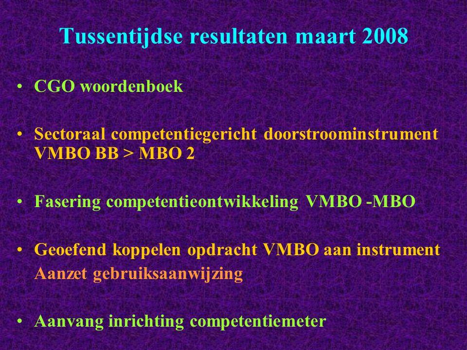 Tussentijdse resultaten maart 2008 CGO woordenboek Sectoraal competentiegericht doorstroominstrument VMBO BB > MBO 2 Fasering competentieontwikkeling