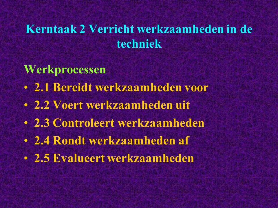 Kerntaak 2 Verricht werkzaamheden in de techniek Werkprocessen 2.1 Bereidt werkzaamheden voor 2.2 Voert werkzaamheden uit 2.3 Controleert werkzaamhede