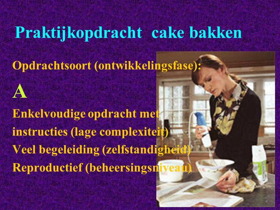 Praktijkopdracht cake bakken Opdrachtsoort (ontwikkelingsfase): A Enkelvoudige opdracht met instructies (lage complexiteit) Veel begeleiding (zelfstan