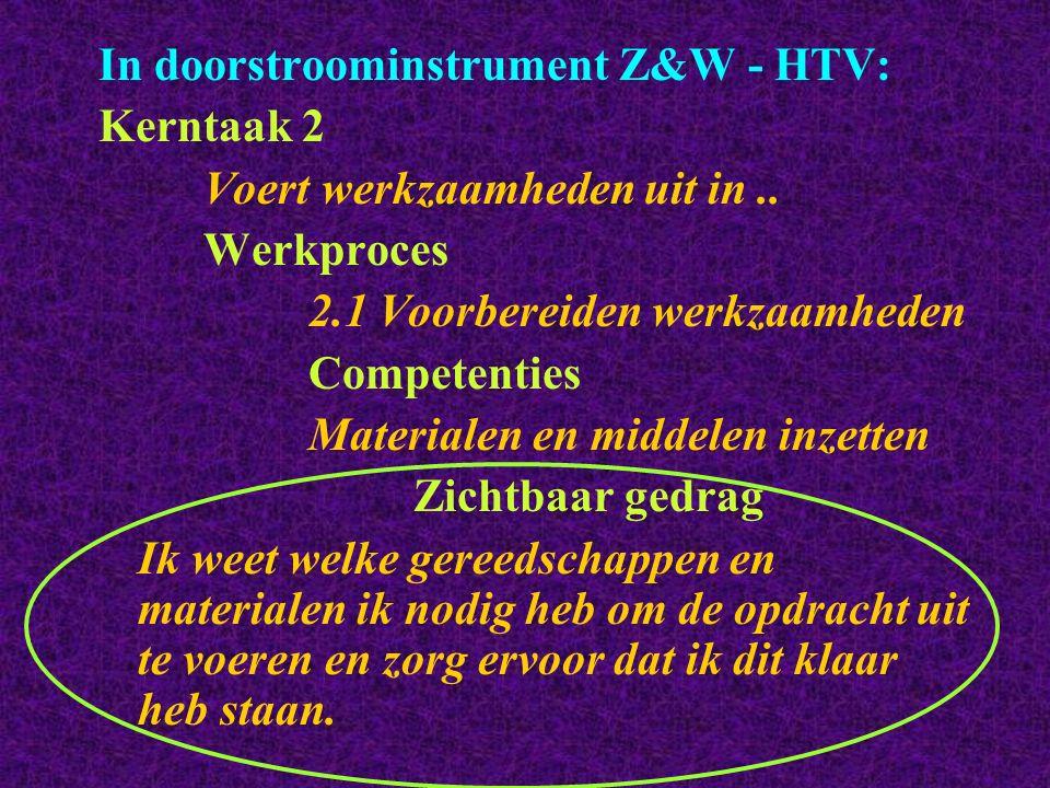 In doorstroominstrument Z&W - HTV: Kerntaak 2 Voert werkzaamheden uit in.. Werkproces 2.1 Voorbereiden werkzaamheden Competenties Materialen en middel