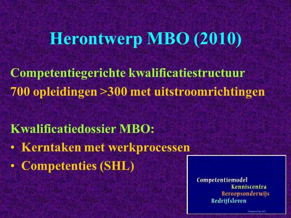 Herontwerp MBO (2010) Competentiegerichte kwalificatiestructuur 700 opleidingen >300 met uitstroomrichtingen Kwalificatiedossier MBO: Kerntaken met we