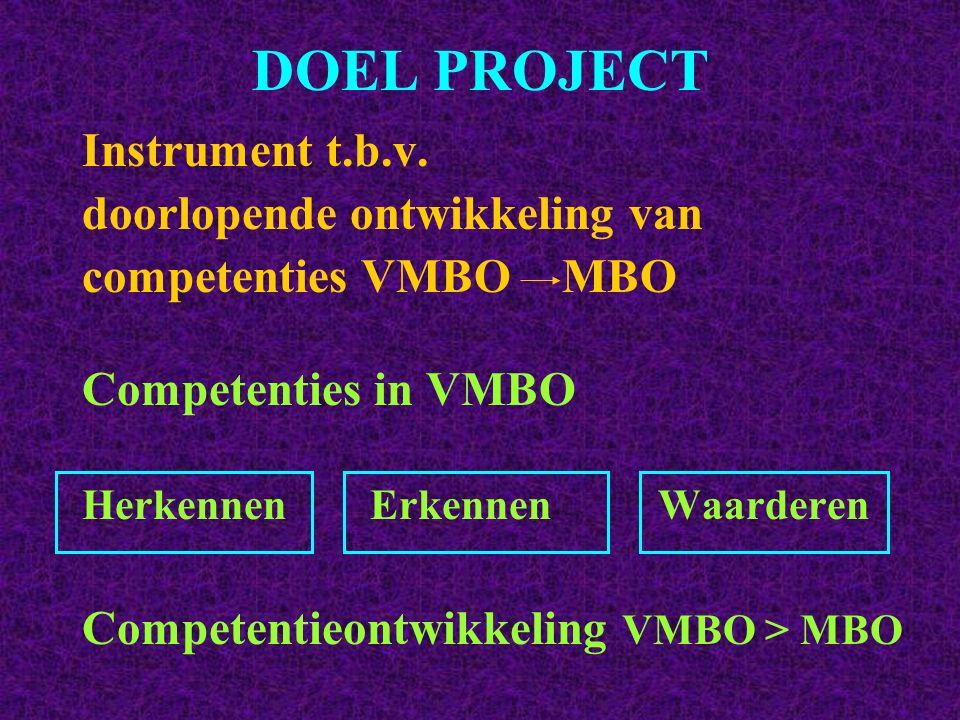 DOEL PROJECT Instrument t.b.v. doorlopende ontwikkeling van competenties VMBO MBO Competenties in VMBO HerkennenErkennen Waarderen Competentieontwikke
