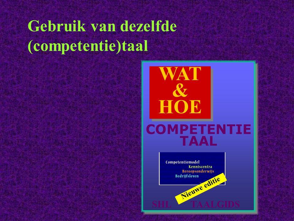 Gebruik van dezelfde (competentie)taal WAT & HOE SHL TAALGIDS Nieuwe editie COMPETENTIE TAAL