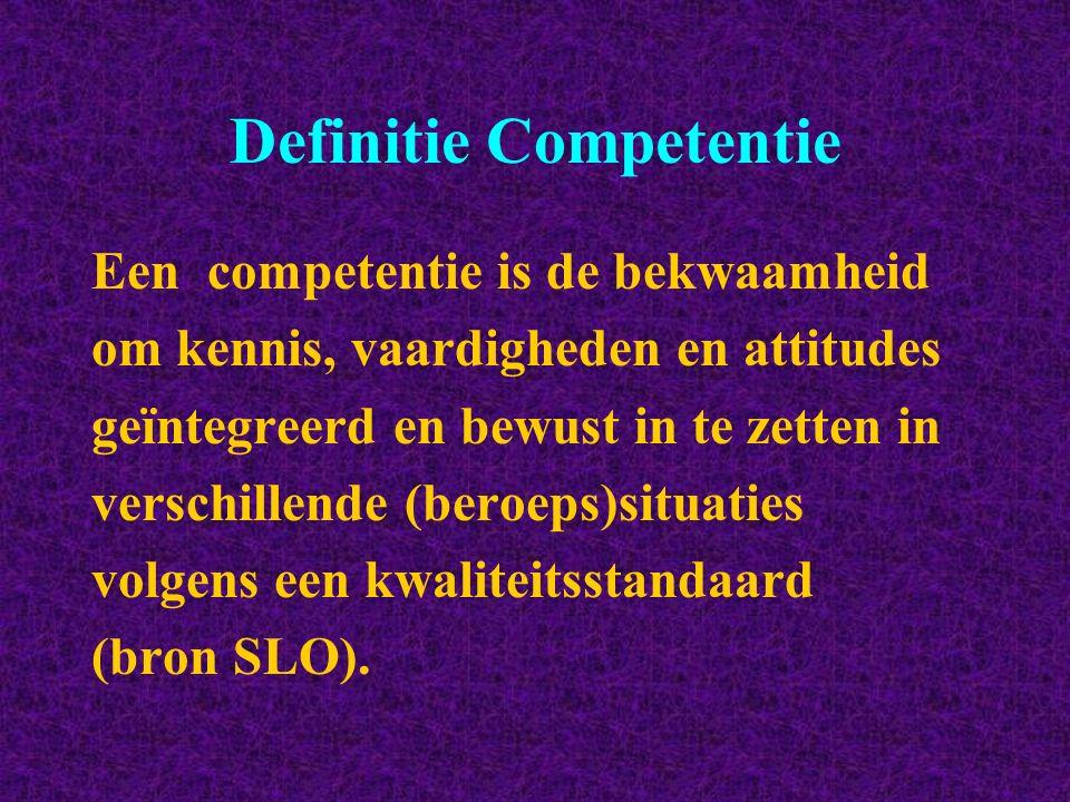 Definitie Competentie Een competentie is de bekwaamheid om kennis, vaardigheden en attitudes geïntegreerd en bewust in te zetten in verschillende (ber
